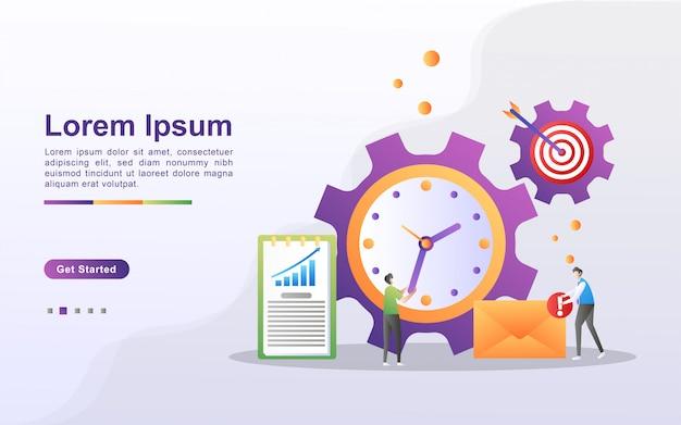 Концепция управления временем. бизнесмен делит время на личное и деловое. составьте приоритетный график и составьте план. можно использовать для веб-целевой страницы, баннера, флаера, мобильного приложения.
