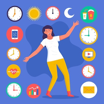 Time management concept clock illustrations