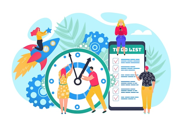 Концепция управления временем, эффективное использование времени для реализации бизнес-плана иллюстрации. часы, повестка дня и расписание в приложении телефона для организации времени. офис-менеджеры планируют задачи.