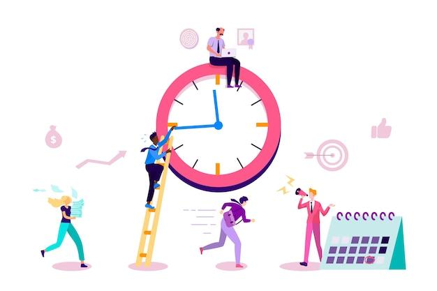 Design piatto del concetto di gestione del tempo