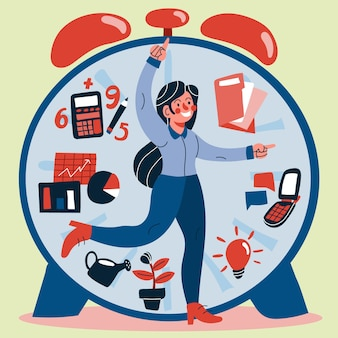 Плоская иллюстрация концепции тайм-менеджмента