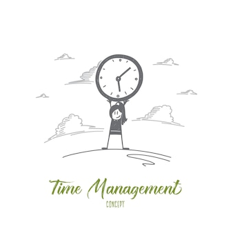 Time management concept. hand drawn woman holding clock. portrait of female person with big clock isolated vector illustration.
