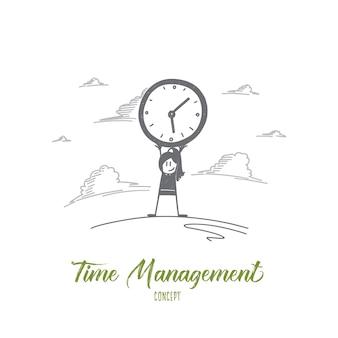 시간 관리 개념. 시계를 들고 손으로 그린 된 여자입니다. 큰 시계 격리 벡터 일러스트와 함께 여성 사람의 초상화.