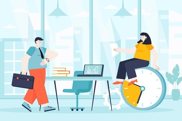 ランディングページの人々のキャラクターのフラットなデザインイラストの時間管理の概念