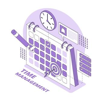 Illustrazione isometrica del concetto di gestione del tempo