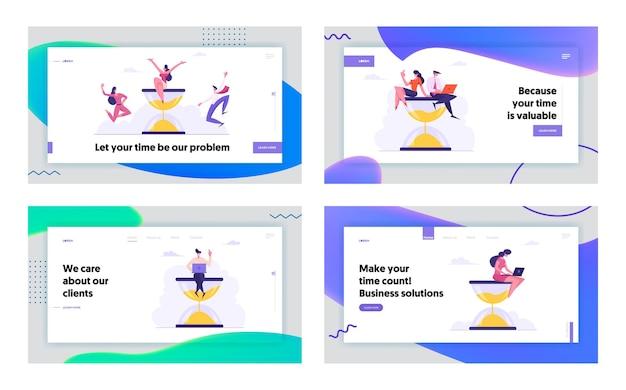 Time management concept landing page set