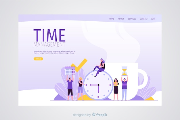 Time management concept for landing page