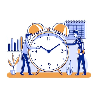 Time management concept people and clock