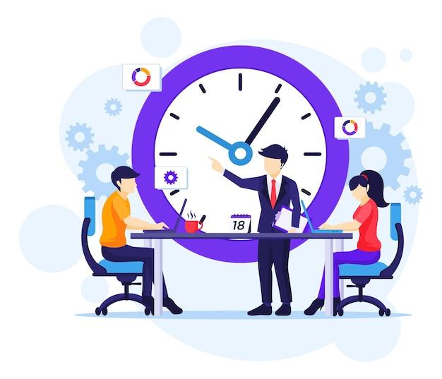 시간 관리 개념, 작업 일정 벡터 일러스트 레이 션을 계획하는 회의에 사람들