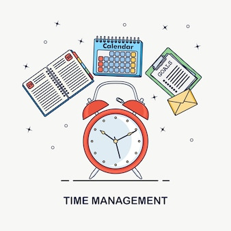 Time management concept. planning, organization of working day. alarm clock, diary, calendar, to do list isolated
