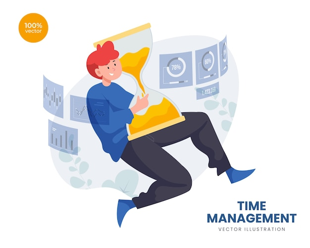 Time management concept with business man holding sand timer and digital screen