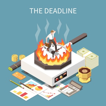 Time management concept with deadline at work symbols isometric  illustration