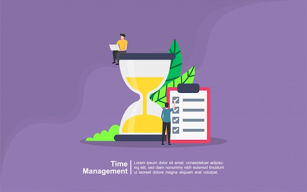 Time management concept with people character