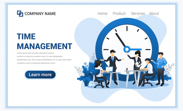 Time management concept with people planning a schedule. business leadership, partnership, team work. flat illustration