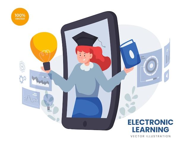 웹 세미나 및 디지털 화면에 대한 온라인 아이디어를 제공하는 젊은 여성 연구와 시간 관리 개념