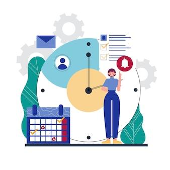Женщина концепции управления временем и часы