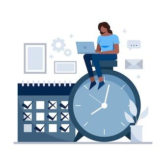 時間管理の概念の女性と時計