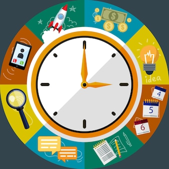 Time management creative flat style concept vector illustration, clock, work planning, ideas, money, search, for covers and posters