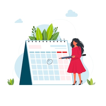 Time management and deadline concept. business woman planning events, deadlines, and agenda. calendar, schedule, organization process flat cartoon vector time management concept for banner