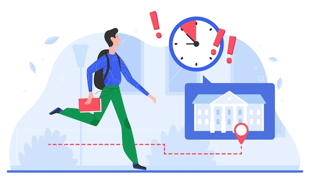 Time management, deadline concept vector illustration, cartoon flat busy man character with timer clock and exclamation point running fast in rush hour