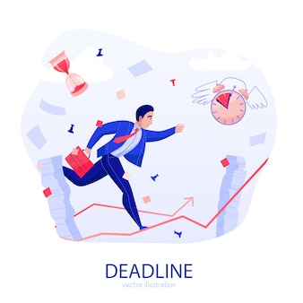 Time management deadline stress flat composition with businessman rushing along rising arrow amidst flying papers vector illustration