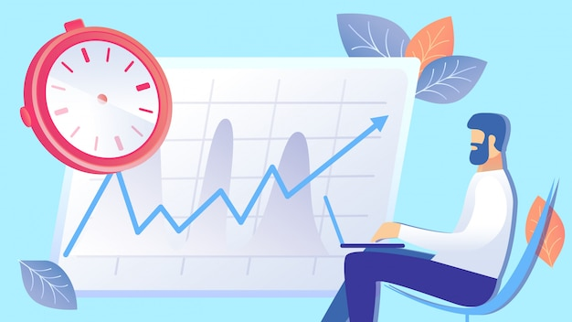 Time management, efficiency rise flat illustration