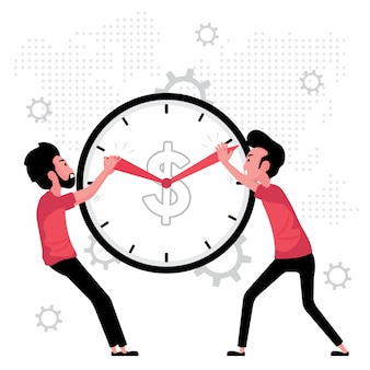Time management feature a man pulling clock hands