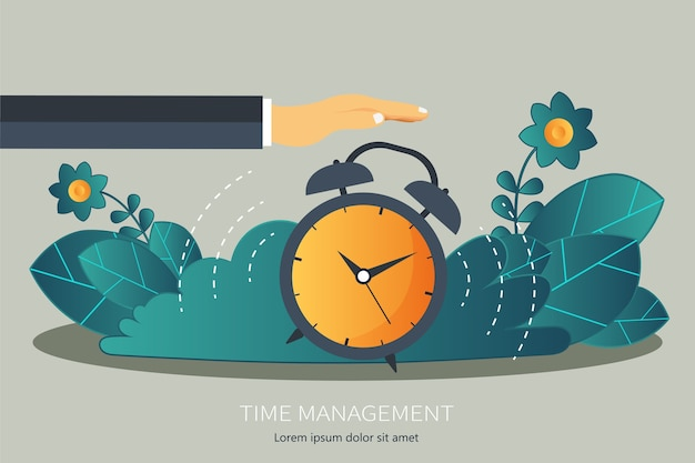 Time management flat concept