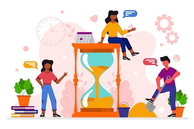 Illustrazione di design piatto di gestione del tempo