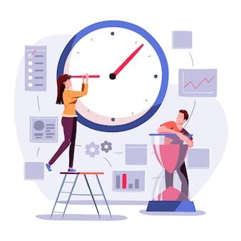 Плоская иллюстрация тайм-менеджмента