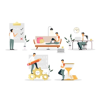 Time management flat illustrations set