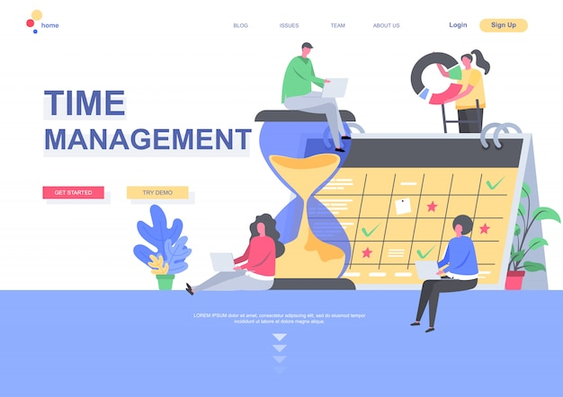 Time management flat landing page template. developers team planning weekly schedule tasks on calendar situation. web page with people characters. work organization and efficiency illustration