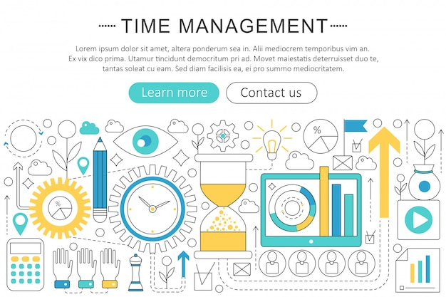 Time management flat line concept