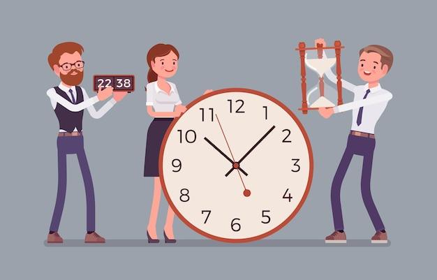 시간 관리 거대한 시계와 사업가