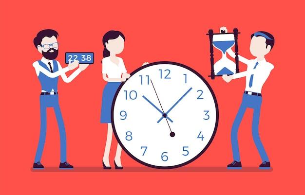 時間管理の巨大な時計、ビジネスマン