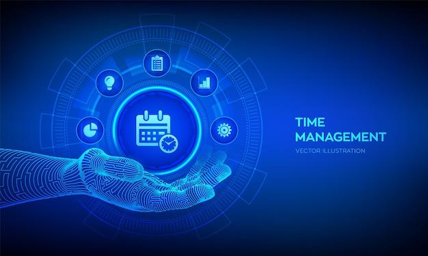 로봇 손에 있는 시간 관리 아이콘입니다. 계획, 조직 및 작업 시간. 가상 화면에서 프로젝트 관리 효율성 성공적인 전략 개념. 벡터 일러스트 레이 션.
