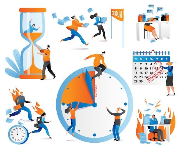 Значки управления временем человеческие персонажи, флажки, часы, крайний срок набор иллюстраций. распределение приоритетов задач, стратегическое планирование, организация рабочего времени, график управления.