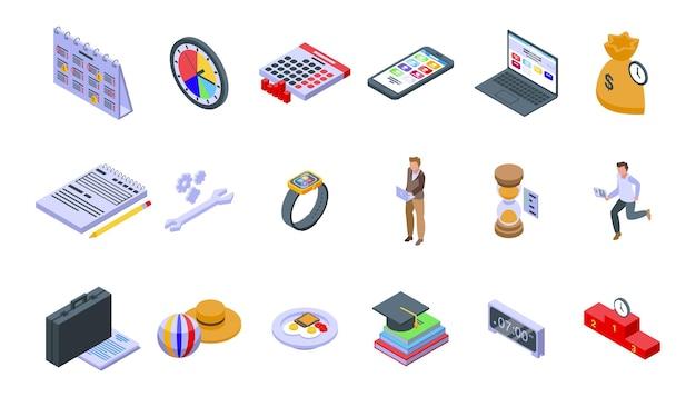 Набор иконок управления временем. изометрические набор векторных иконок тайм-менеджмента для веб-дизайна на белом фоне