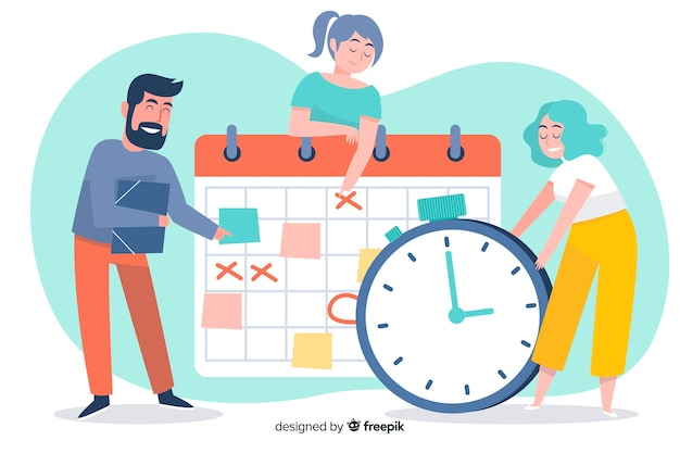 Time management illustrated concept for landing page