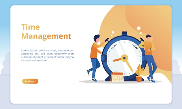 Time management illustration for business landing page templates