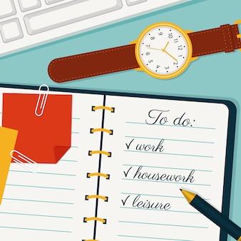 Time management illustration, to do list