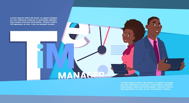 Time management illustration with people