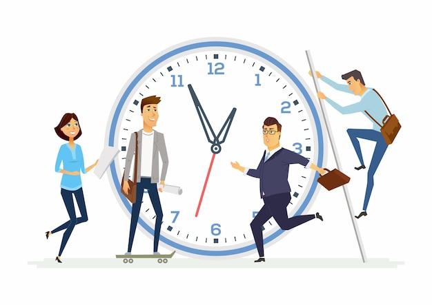 Тайм-менеджмент в компании - иллюстрация персонажей современных мультяшных людей со счастливыми улыбающимися коллегами, часами, скейтбордом, лестницей. метафорическая композиция - пример продуктивности в работе