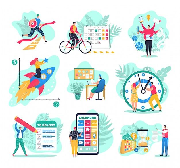 Тайм-менеджмент в бизнес-множестве иллюстраций. успех в бизнес-планировании и результатах, менеджеры с планировщиками, наблюдайте, планируйте стратегию и эффективность. бизнесмен, управляющий рабочей неделей.