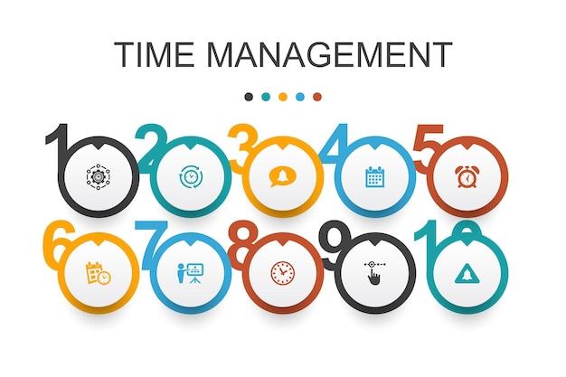 時間管理インフォグラフィックデザインテンプレート。効率、リマインダー、カレンダー、シンプルなアイコンの計画