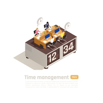Time management isometric business concept for web page design with group of employees working on big clock