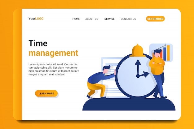 Time management landing page background.