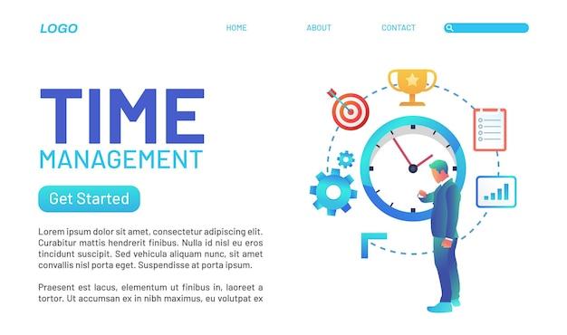다양한 색상과 문자가 포함된 시간 관리 랜딩 페이지 개념