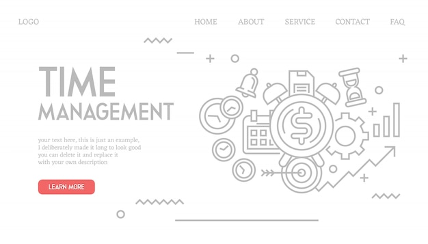Time management landing page in doodle style