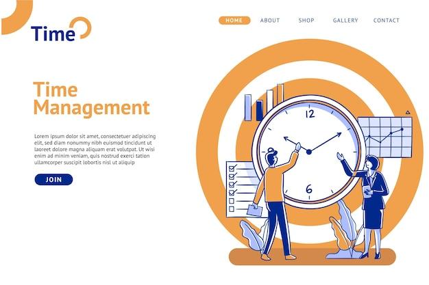 時間管理のランディングページフラットデザイン